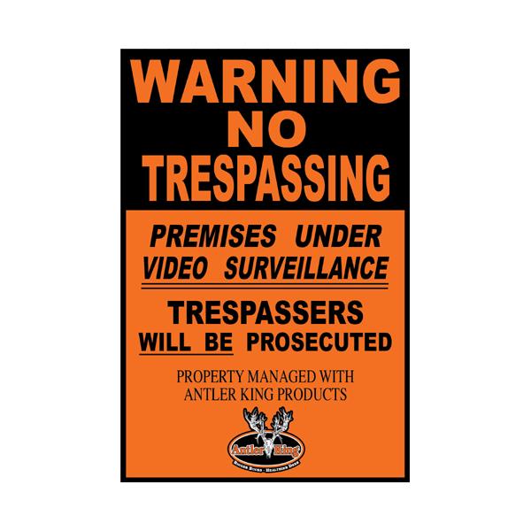 Warning No Trespassing Sign - Antler King