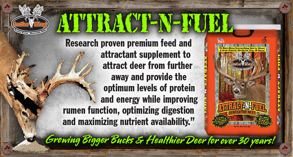 The Generation Next Attract-N-Fuel is a high grade premium protein/energy mix to attract deer from further away and maximize antler growth.  This part pellet, part crushed protein mix is great for feeders or poured directly on the ground.  Tear open a bag and see for yourself.