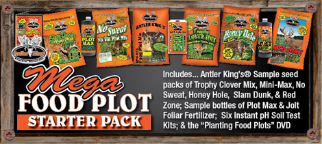 Mega Food Plot Starter Pack is a great introduction to food plotting and offers an awesome value while sampling 7 different food plot seed mixes, our liquid products and our pH testing system. The Mega Food Plot Starter Pack includes Trophy Clover, No Sweat, Honey Hole, Slam Dunk, Lights Out, Game Changer and Red Zone, giving you the opportunity to test out our seeds on 3500 square feet.