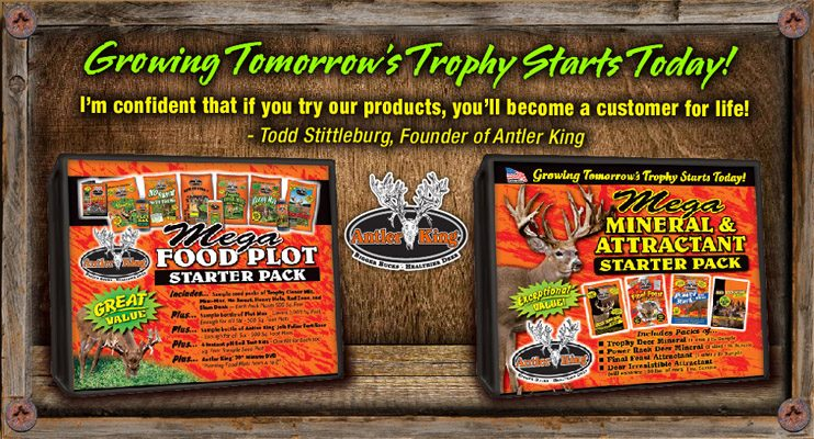 Antler King's Mega Food Plot Starter Pack offers an inside look at our wide variety of food plot seeds and liquid products.  With 7 different food plot mixes along with enough liquid products to cover all 3500 square feet, this is a great introduction to our full line of food plot products.