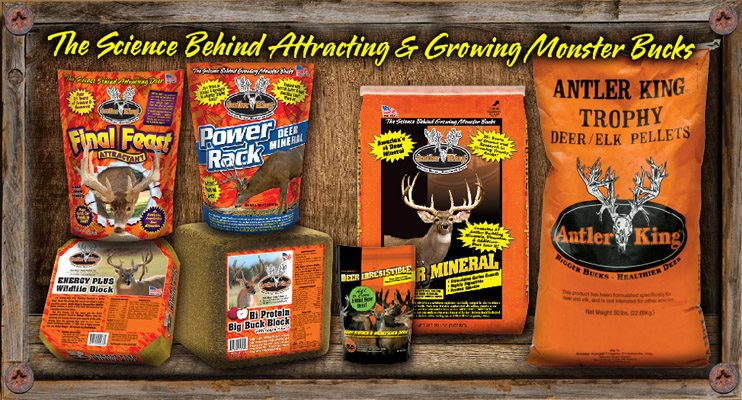 Antler King offers a full line of mineral, feed and attractant products to help you attract more deer to your property from further away and provide them the optimum level of minerals, nutrients and vitamins to help grow Bigger Bucks and Healthier Deer.  With over 30 years of science and research on deer and deer nutrition you can't go wrong with our full line of minerals, feed and attractants.